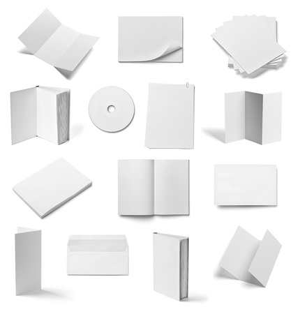 collection of various  blank white paper and book on white background  each one is shot separately