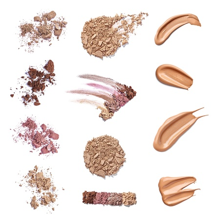 collection of various make up powder samples on white background  each one is shot separately