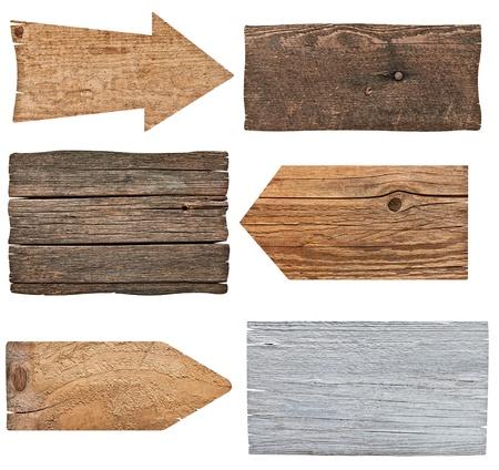 colecci?n de diversos signo vac?o de madera en el fondo blanco cada uno es asesinado por separado photo