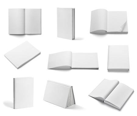 libros: colecci?n de varios libros en blanco blanco sobre fondo blanco. cada uno es asesinado por separado