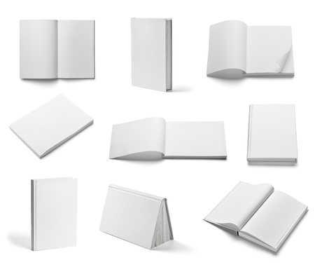 book: collection of various  blank white  books on white background. each one is shot separately