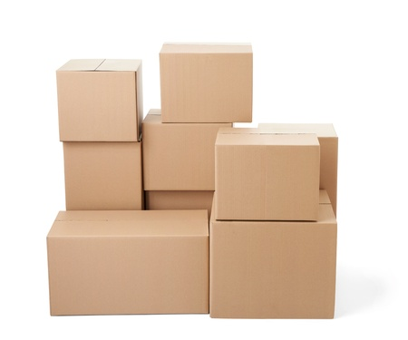close up of a stack of cardboard boxes on white background Stock Photo - 21808387