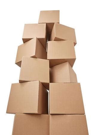 Nahaufnahme von einem Stapel von Kartons auf weißem Hintergrund Standard-Bild - 21809507