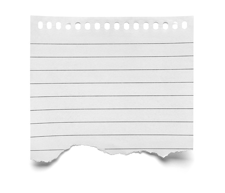 close up of  a piece of note paper on white background Imagens