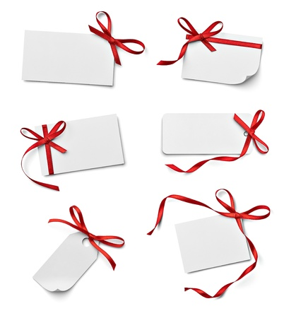 gifts: collection of various note card with ribbon bow on white background. each one is shot separately