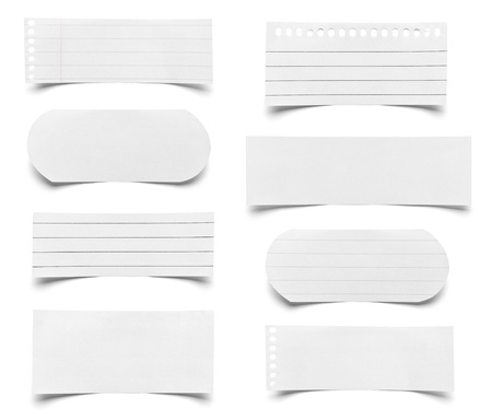 collection of various pieces of note paper on white background Stock Photo - 22418286