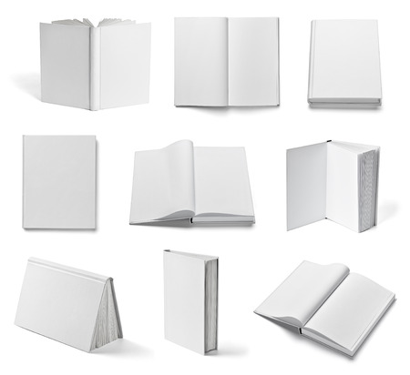 collection of various  blank white  books on white background photo