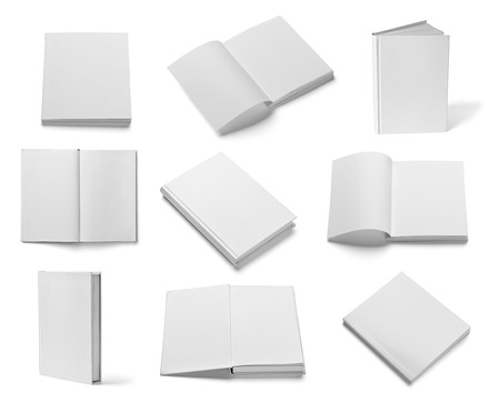collection of various  blank white  books on white background Banco de Imagens - 22418368