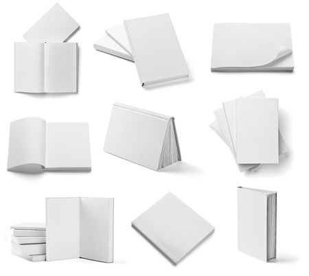 collection of various  blank white  books on white background   Imagens