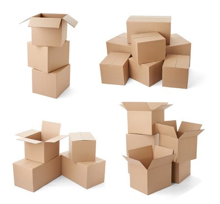 closed box: collection of various cardboard boxes on white background