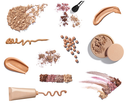 collection of various make up powder samples on white background Banco de Imagens - 22418370