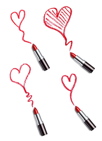collection of  various lipsticks  and heart shapes on white background Stock Photo - 22418377