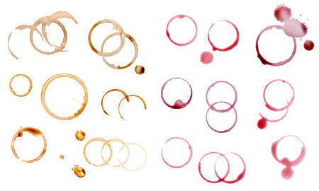 collection of various coffee and wine stains on white background
