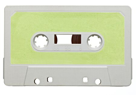 close up of a vintage audio tape on white background photo