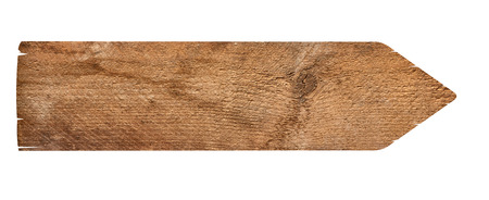 arrow wood: close up of an empty wooden sign on white background