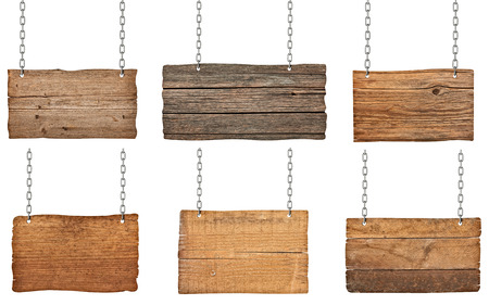 metal plaque: collection of  various wooden signs with chain on white background  each one is shot separately