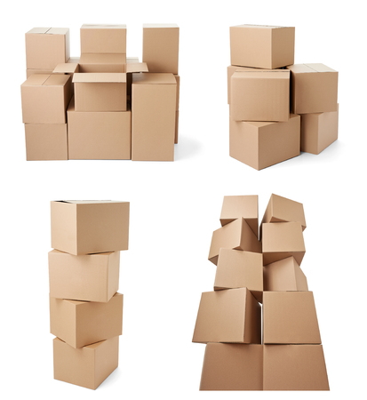 collection of various cardboard boxes on white each one is shot separately