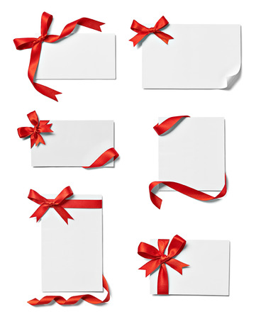 collection of various note card with ribbon bow on white each one is shot separately photo