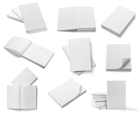 hard cover: collection of various  blank white  books on white background  each one is shot separately Stock Photo