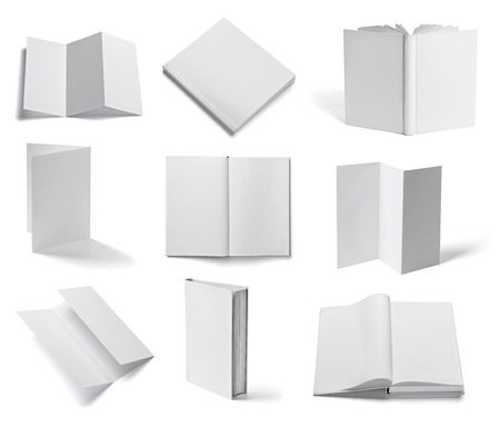fold: collection of various  blank white paper and book on white background  each one is shot separately