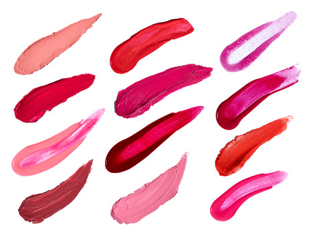 collection of various lipstick and nail polish strokes on white background  each one is shot separately
