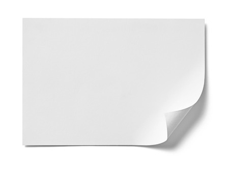 note paper: close up of  white note paper on white background