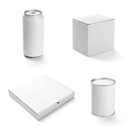 collection of  various white box and packages on white background  each one is shot separately