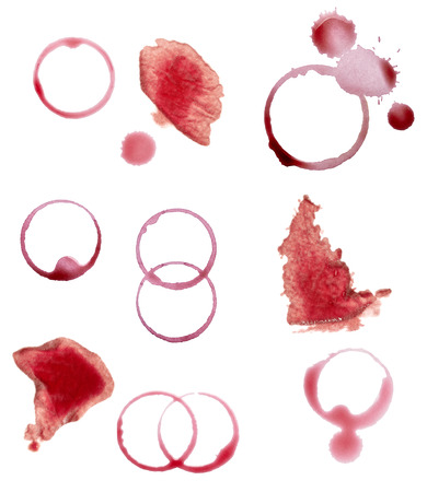 collection of various wine stains on white background  each one is shot separately photo