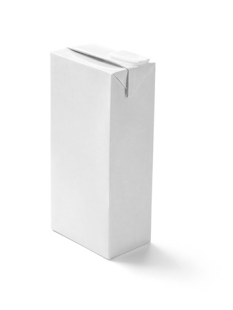 close up of  a white milk box template on white background photo