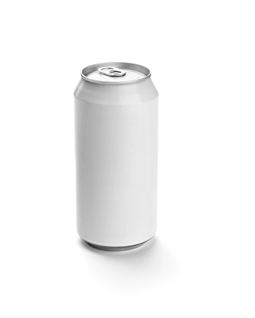 close up of  a white aluminum tin can template on white background photo