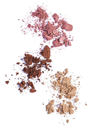 make up brush: close up of  a make up powder and a brush on white background Stock Photo