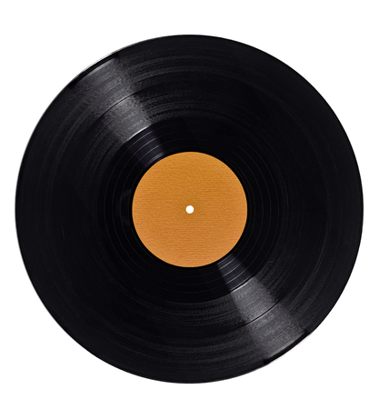 phonograph: close up of a vynil on white background