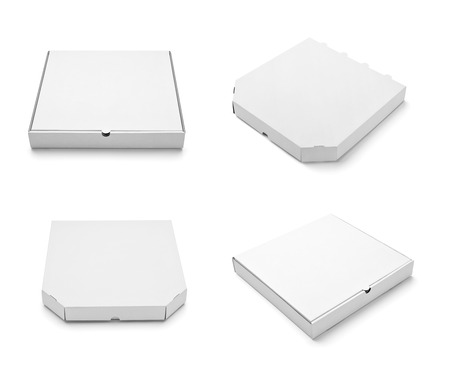 pizza box: collection of  various white box and packages on white background. each one is shot separately