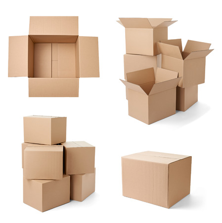 ship parcel: collection of various cardboard boxes on white background  each one is shot separately