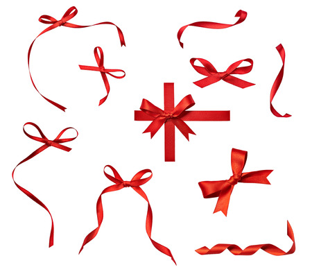 ribbon: close up of a  red ribbon bow on white background