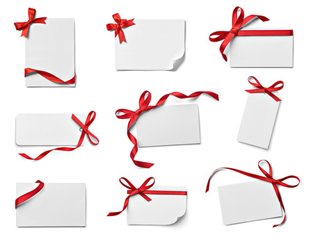 collection of various note card with ribbon bow on white background  each one is shot separately photo