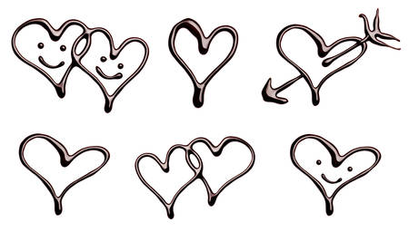 chocolate syrup: collection of various chocolate heart shapes on white background