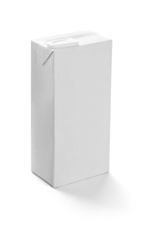 caja de leche: primer plano de una plantilla de cuadro de leche blanca sobre fondo blanco Foto de archivo