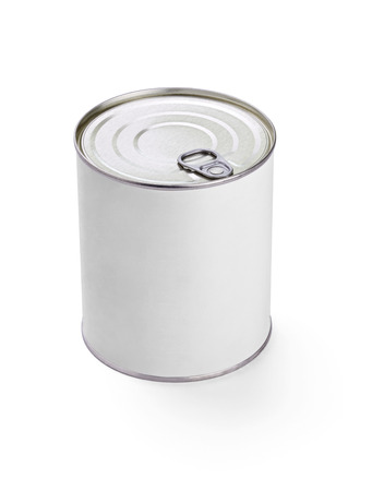 cylinder: close up of  a white tin can template on white background