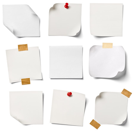 thumb tack: collection of  various white note papers on white background  each one is shot separately Stock Photo