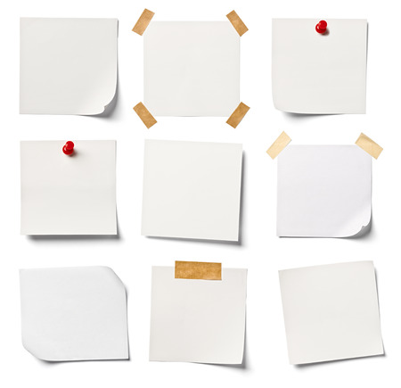 drawing pin: collection of  various white note papers on white background  each one is shot separately Stock Photo