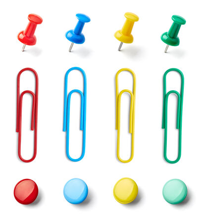 bulletin board: collection of various pushpins on white background  each one is shot separately Stock Photo