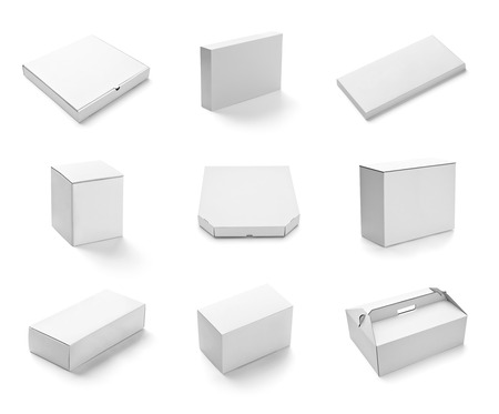 cardboards: collection of  various white box and packages on white background  each one is shot separately