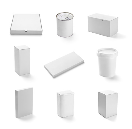 collection of  various white box and packages on white background  each one is shot separately photo