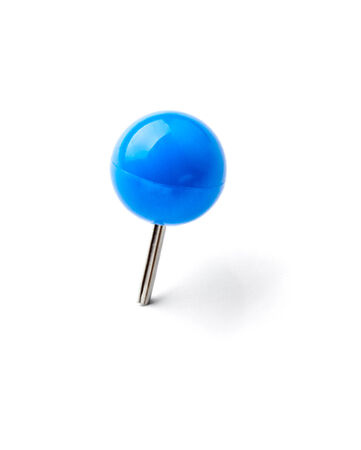 tack board: close up of a pushpin on white background Stock Photo