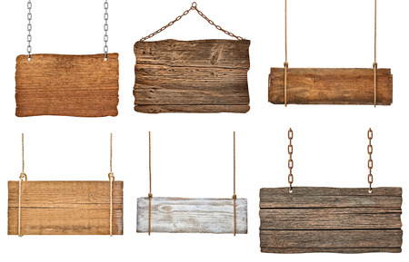 a signboard: collection of various empty wooden signs hanging on a rope and chain on white background  each one is shot separately Stock Photo