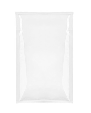 close up of  a white package template on white background photo