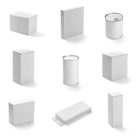 tin: collection of  various white btin can on white background  each one is shot separately