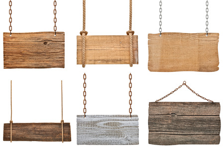 collection of various empty wooden signs hanging on a rope and chain on white background  each one is shot separately Stock Photo
