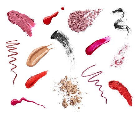 line up: collection of various make up on white background  each one is shot separately Stock Photo